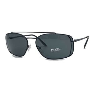Prada 62mm Rectangle Matte Black Men's Sunglasses